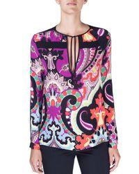 Etro - Purple Moroccan Silk Tie-neck Top - Lyst