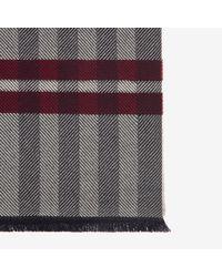 Bally - Gray Wool-cashmere Herringbone Scarf for Men - Lyst