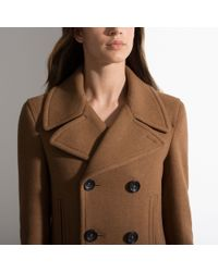 Bally - Brown Double Breasted Coat Women ́s Wool Coat In Tobacco - Lyst