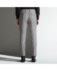 Bally - Gray Checked Trousers In Black Mixed Wool for Men - Lyst