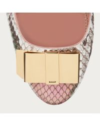 Bally - Multicolor Bahira Women ́s Python Bow Shoe In Rosehaze & Sage - Lyst