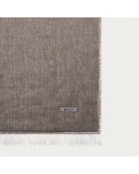 Bally - Gray Lightweight Chevron Scarf Men ́s Cotton And Linen Scarf In Evergreen - Lyst