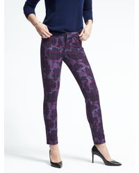 Banana Republic | Purple Sloan-fit Floral Skinny Ankle Pant | Lyst