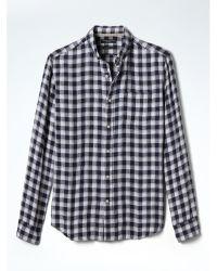 Banana Republic   Blue Camden-fit Check Linen Shirt for Men   Lyst