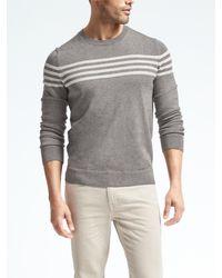 Banana Republic | Gray Textured-stripe Supima® Cotton Crew Pullover for Men | Lyst
