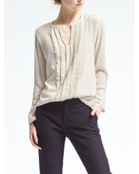 Banana Republic   White Easy Care Pintuck Lace Blouse   Lyst