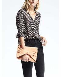 Banana Republic | Black Easy Care Piped Edge Vee Top | Lyst