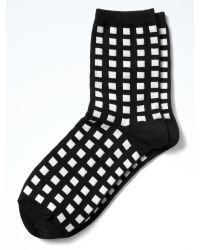 Banana Republic | Black Gingham Plaid Trouser Sock | Lyst