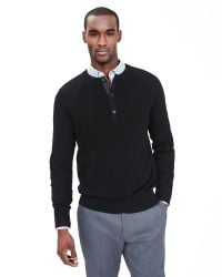 Banana Republic | Black Waffle-knit Henley Pullover for Men | Lyst