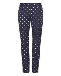 Banana Republic - Blue Petite Sloan Skinny-fit Dot Ankle Pant - Lyst