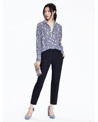 Banana Republic | Blue Dillon-fit Ruffle Stripe Shirt | Lyst