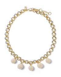 Banana Republic - Metallic Beaded Pearl Charm Necklace - Lyst