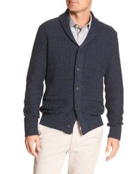 Banana Republic Factory - Blue Cable-knit Shawl Cardigan for Men - Lyst