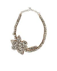 Valentino - Metallic Crystal Flower Pendant Necklace - Lyst