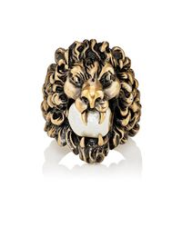 Gucci - Metallic Lion Head Ring for Men - Lyst