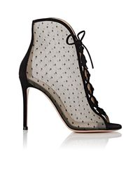 Gianvito Rossi - Black Ivy Mesh & Suede Ankle Booties - Lyst