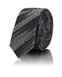 Saint Laurent - Black Metallic - Striped Silk Necktie for Men - Lyst