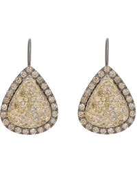 Roberto Marroni | Metallic Yellow Diamond, Brown Diamond & Oxidized Gold Teardrop Earrings | Lyst