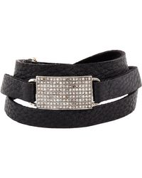Feathered Soul - Black Leather Wrap Bracelet With Diamond & Silver Charm - Lyst
