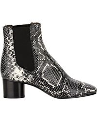 Isabel Marant - Black Danae Snake-effect Leather Ankle Boots - Lyst