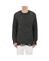 R13 - Black Distressed Sweater for Men - Lyst