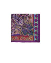Etro - Purple Paisley & Geometric-print Silk Twill Pocket Square for Men - Lyst