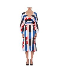 OSMAN - Blue Striped Silk Kimono Dress - Lyst