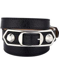 Balenciaga - Black Metallic Edge Double Tour Wrap Bracelet - Lyst