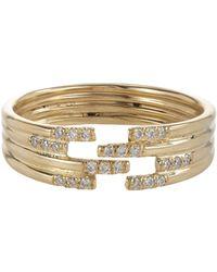 Jennie Kwon - Metallic Pavé Diamond & Gold Stacked Cutout Ring - Lyst