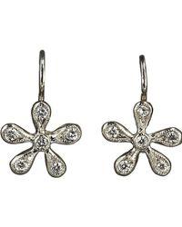 Cathy Waterman - Metallic Pave Diamond Medium Daisy Earrings - Lyst
