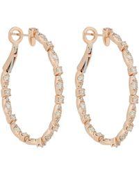 Zoe - Metallic Diamond & Rose Gold Hoops - Lyst
