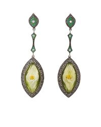 Sevan Biçakci - Green Tulip Intaglio Drop Earrings - Lyst