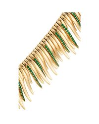 Ileana Makri Green Grass Leaves Necklace