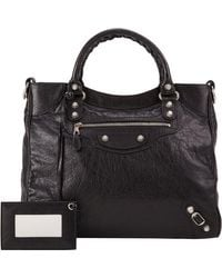 Balenciaga - Black Arena Leather Giant Velo Bag - Lyst