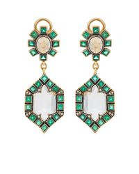 Cathy Waterman - Metallic Mixed-gemstone Double-drop Earrings - Lyst