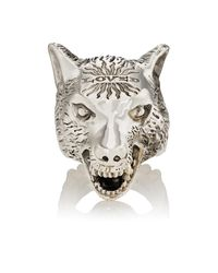 Gucci | Metallic Anger Forest Wolf Head Ring for Men | Lyst