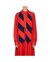 Givenchy - Red Silk Scarf-neck Blouse - Lyst