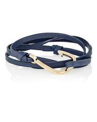 Miansai - Blue Hook On Leather Wrap Bracelet for Men - Lyst