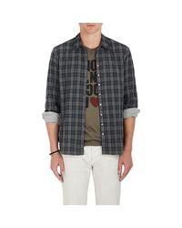 John Varvatos | Gray Plaid Cotton Shirt for Men | Lyst