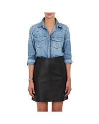 NSF - Blue Lesli Distressed Cotton Chambray Shirt - Lyst
