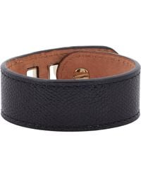 Valextra - Black Grained Leather Bracelet - Lyst