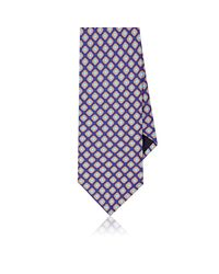 Piattelli - Blue Floral Medallion Silk Foulard Necktie for Men - Lyst
