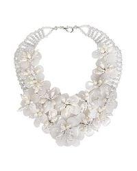 Aeravida - White Floral Lush Clear Quartz Garland Bridal Necklace - Lyst