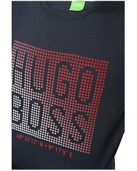 BOSS Green - Blue Printed T-shirt: 'teeos' for Men - Lyst