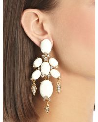 Oscar de la Renta | Metallic Oval Cabochon Earrings | Lyst