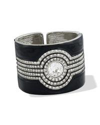 Kenneth Jay Lane | Black And Crystal Art Deco Cuff | Lyst
