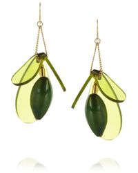 Marni | Green Gold-Plated, Horn And Acetate Drop Earrings | Lyst