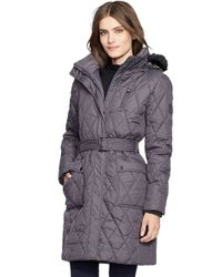 Lauren by Ralph Lauren | Gray Faux Fur Trim Belted Quilted Coat | Lyst
