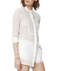 Maje | White Chef Sheer Lace Shirt | Lyst