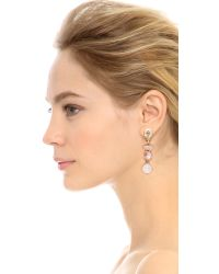 Oscar de la Renta | Metallic Semi Precious Crystal Drop Earrings | Lyst